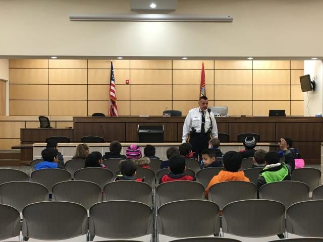 Chief Larry Minda speaks to McKenzie School Students.