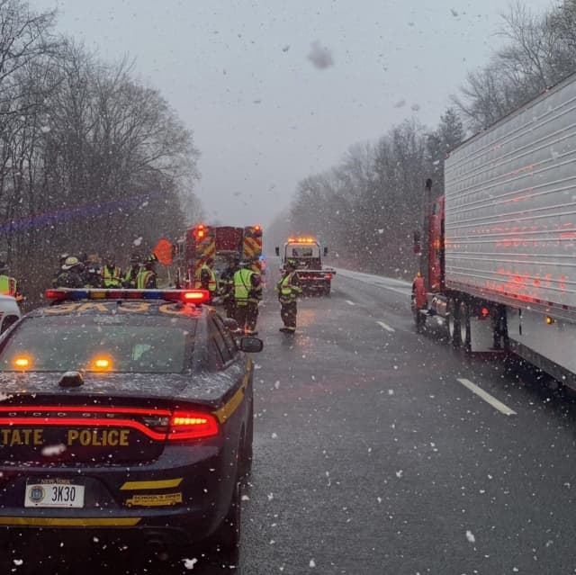 Southbound I-684 in Bedford was closed due to a serious crash. The lanes have since reopened.