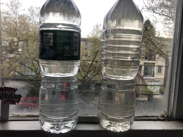 """Comparison of bottled water vs. boiled (to boiling point actually). """"At this point don't think boiled water is safe,"""" the Liberty Avenue resident said Wednesday on Twitter."""