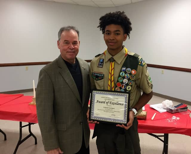 Eagle Scout Gabriel Lartigue of Montebello, right, was honored by Rockland County Executive Ed Day.