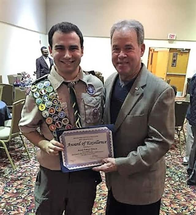 Rockland County Executive Ed Day congratulates Eagle Scout Jared Sidney Simon of Ramapo whose project helped the Hudson Valley Humane Society in Pomona.