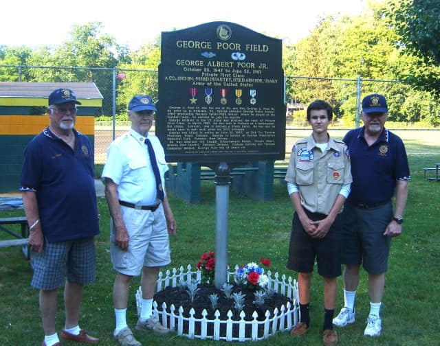 Legion Commander Phil Langner, Scout Liaison Rich Curran, Ryan Tobin and Vice Commander Doug Frank.