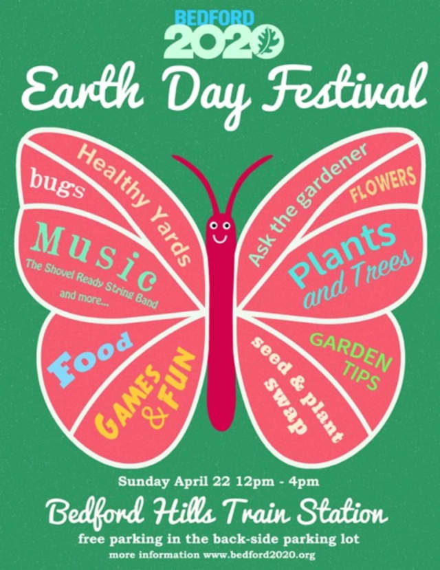 Join Bedford 2020 at the Bedford Hills Train Station from noon to 4 p.m. on Earth Day, Sunday, April 22 for a celebration, rain or shine.