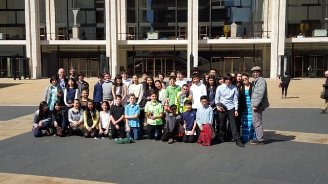 Eastchester students during their visit to David Geffen Hall in Lincoln Center on March 17.