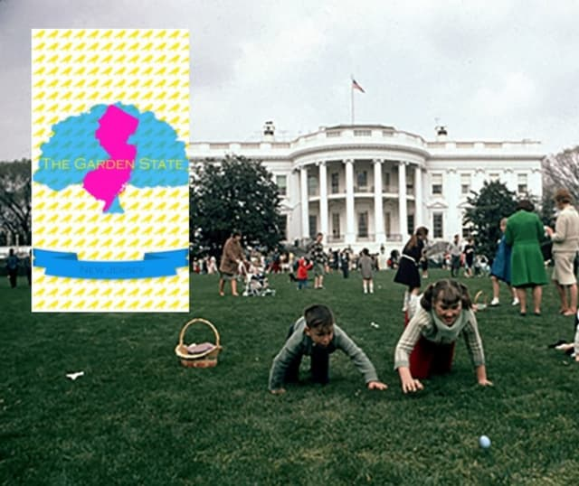 Hackensack High School student Ahmed El Gazzar's design, inset, will represent New Jersey at the White House's 141th Annual Easter Egg Roll. Above photo was taken in 1965.