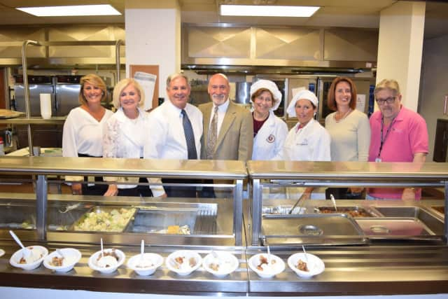 Julia Orlando, Jane Linter, County Executive Jim Tedesco, Tom Eastwick, Eastwick College Culinary Program Director Pat Romero, Eastwick Culinary Lab Assistant Michelle Cammarata , Lynn Bartlett, and Freeholder David Ganz.