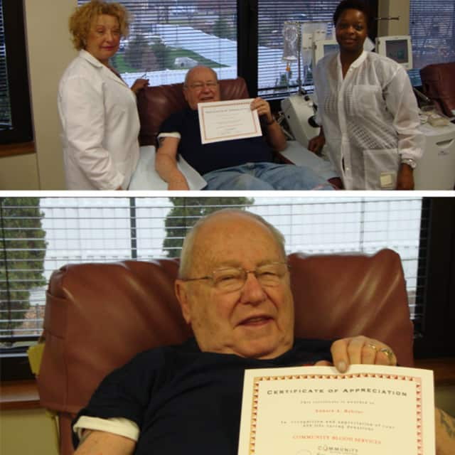 Edward Babilot, a Paramus resident for 43 years, was recently recognized and honored for making his 450th donation at the Paramus Donor Center.