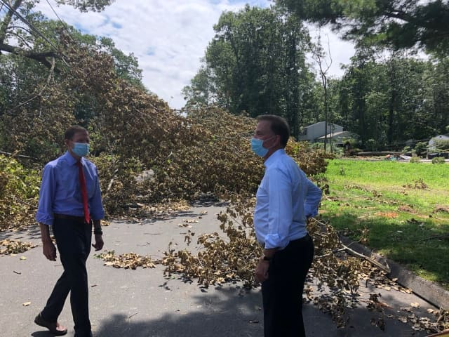 Connecticut Gov. Ned Lamont, right, and U.S. Sen. Richard Blumenthal touring Danbury following the storm.