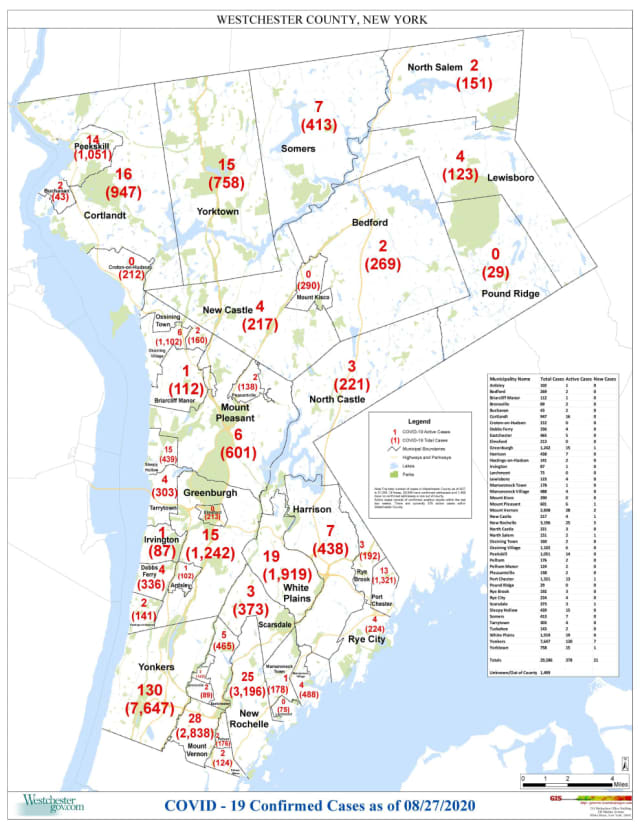 The Westchester County COVID-19 map as of Thursday, Aug. 27.