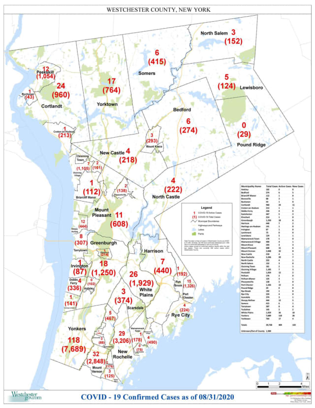 The latest breakdown of COVID-19 cases in Westchester as of Monday, Aug. 31.