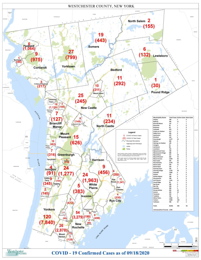 The Westchester County COVID-19 map as of Friday, Sept. 18.
