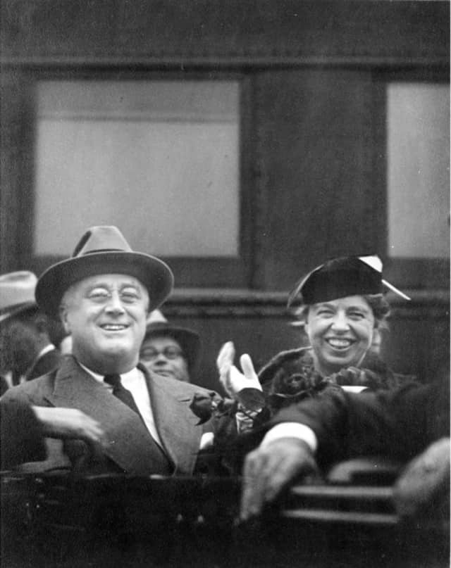 """Eleanor Roosevelt, shown with FDR, was once dubbed the """"First Lady of Radio."""" Recordings of her many broadcasts will be aired at a special program at the president's library and museum in Hyde Park."""