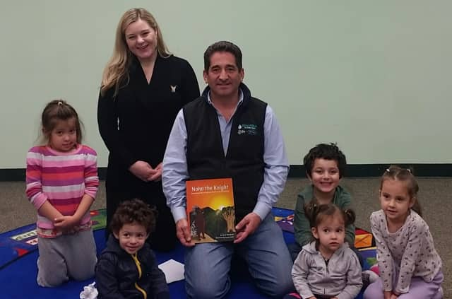 Councilman Joel Brizzi recently attended an author reading by Eleni Theodorou.