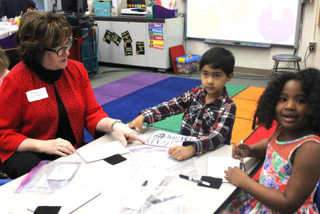 State Commissioner of Education MaryEllen Elia visits a Pocantico Hills kindergarten class.