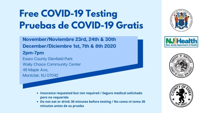 Free COVID-19 testing is being offered several days this month and next in Montclair.