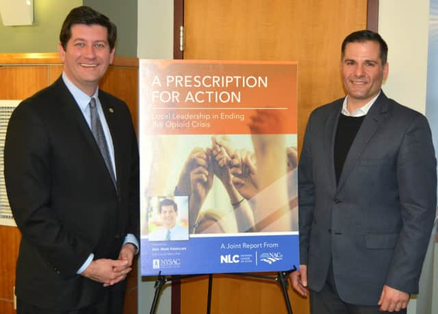 Erie County Executive Mark Poloncarz (left) and Dutchess County Executive Marcus Molinaro (right) at drug addiction forum.