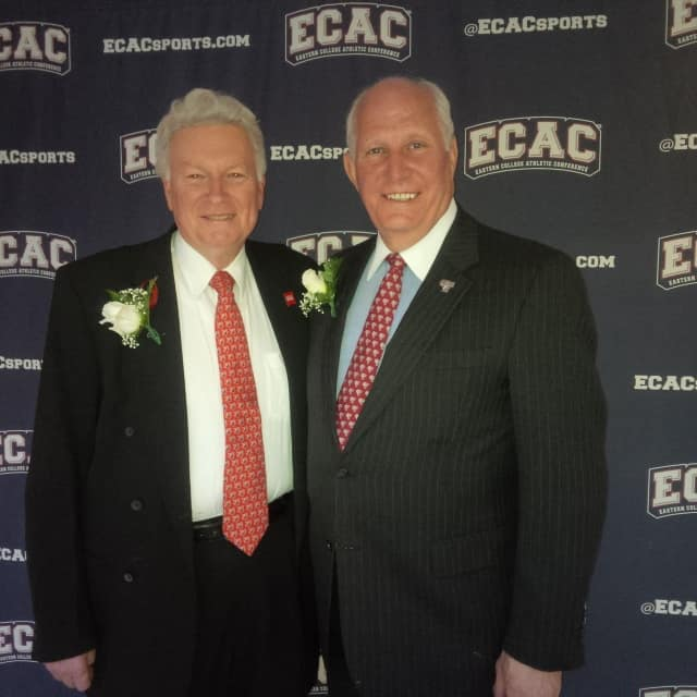 Fairfield University Athletic Director Gene Doris, left, former head basketball coach at Archbishop Stepinac High School in White Plains, and longtime Briarcliff Manor resident Frank McLaughlin, athletic director emeritus at Fordham University.