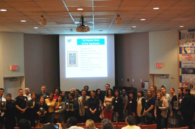White Plains Hospital's second annual Ex-STEP-tional challenge will kick off next month. Picture are participants in last year's fitness challenge.