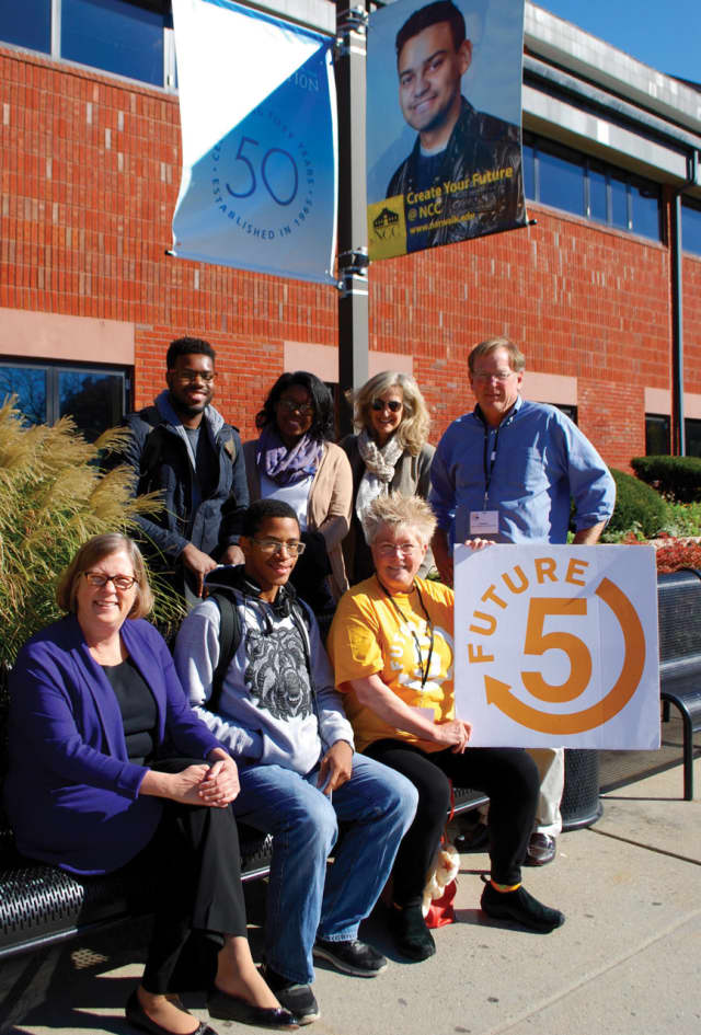 Front row: Ann Rogers, Norwalk Community College Foundation executive director, Future 5 student Trevon and coach Martha Cook. Back row: F5 students Stanley and Michelle, coach Julie Horowitz, and Future 5 founder & executive director Clif McFeely