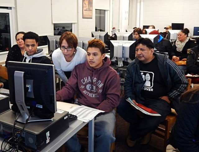 "Latino U College Access is pairing with Mercy College to present a ""FAFSA First!"" program, to assist students with the financial aid process. Shown here is a 2015 FAFSA Boot Camp at Sleepy Hollow High School by Latino U."