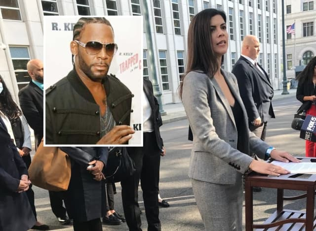 Jacquelyn Kasulis, the acting US attorney for the Eastern District of New York, following the verdict / INSET: R. Kelly