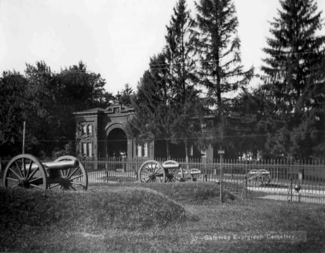 Early photograph of the historic Gettysburg National Cemetery.