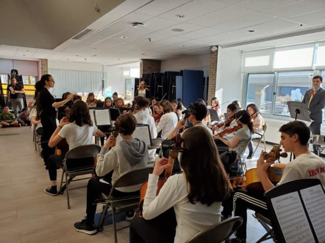 Orchestra students practice at Fox Lane Middle School.