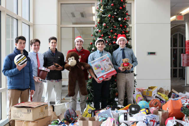 Some students helping with the toy drive were (l to r):  Aidan Feliciano, Liam Woods, Chris Stich, Liam Colleran, Sean Hurley and Brendan Wilemski.