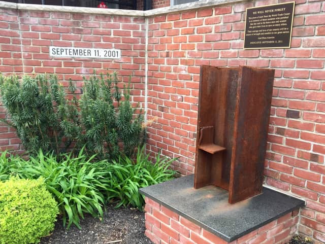 A piece of steel from the World Trade Center outside of Fair Lawn Borough Hall