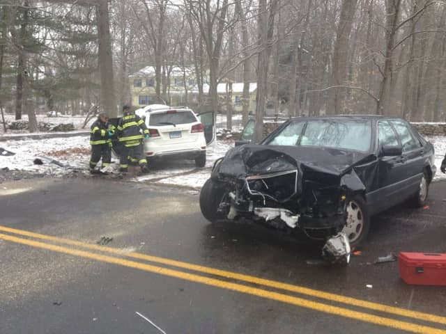 Fairfield firefighters at the scene of a two-car head-on collision Friday morning.