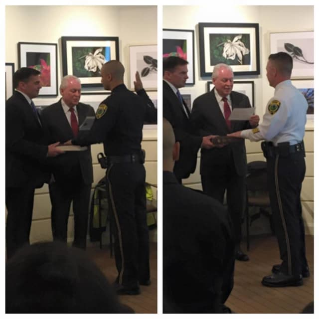 The Fairfield Police Department promoted two members Tuesday: Officer Michael Clark (left), who was promoted to detective, and Sgt. Edward Greene, who was promoted to lieutenant.