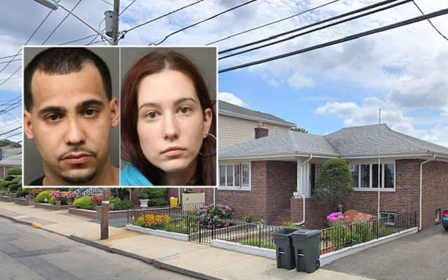 Day Avenue home raided by authorities in Fairview. INSET: Jose R. Ulloa and Stephanie Piccinich.