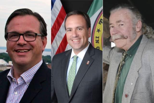Greenwich First Selectman candidates Frank Farricker, Peter J. Tesei and James C. Reilly