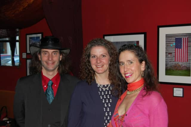 Left to right: Frederick Laist, Artist Susan Christiano, and Nancy Laist at The Fez in Stamford.
