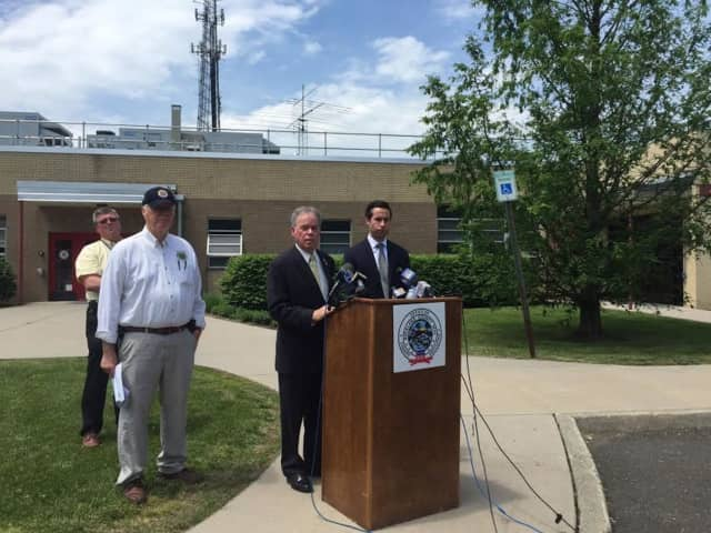 County Executive Ed Day and Assemblyman Ken Zebrowski address the media during a press conference where they announced that the county will conduct the fire inspections for 49 private schools in Rockland.