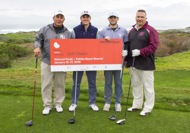 Dr. Stephen Nicholas of Scarsdale and Andrew Verboys of Armonk were on the team that won the National Finals of the National Kidney Foundation's Golf Classic. (L) Dr. Stephen Nicholas, James Nicholas, William Bernstein, Andrew Verboys.