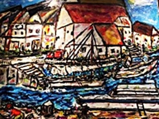 Fishing Village, an acrylic by Corinne Lill, is one of the pieces on exhibit at the Oakland Public Library this month.