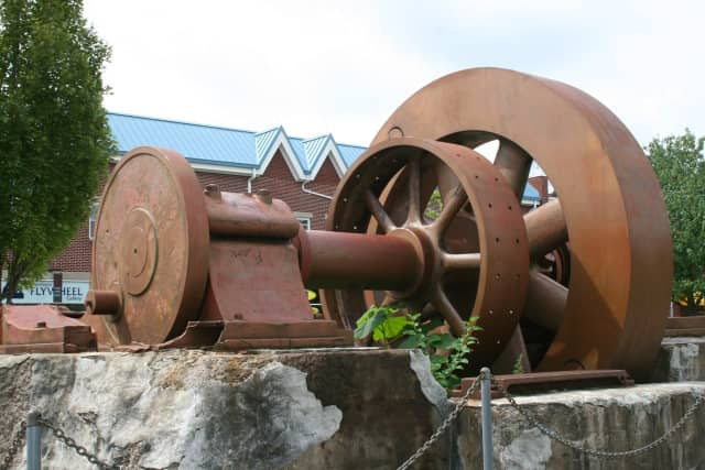 The flywheel from the old paper mill in Piermont. A ceremony marking the paper  mill's past is set for Sunday.
