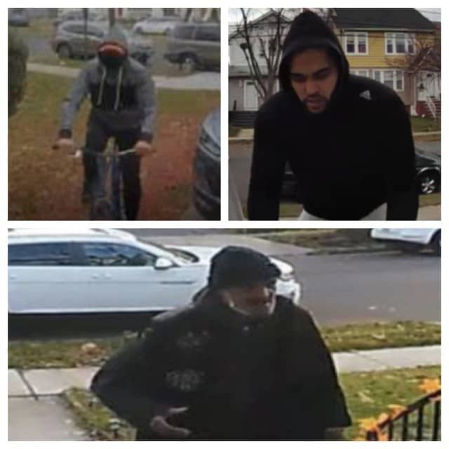 The three men are wanted in a series of thefts from porches in Bloomfield.