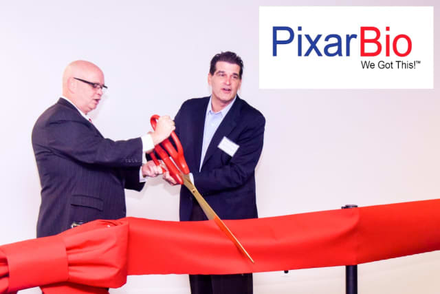 PixarBio Chief Executive Officer Frank Reynolds and Fort Lee Mayor Mark Sokolich.