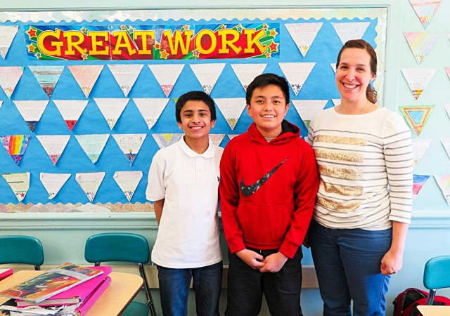 Sarthak Gandotra and Franz Gloria took third and first in the local Patriot's Pen essay contest.