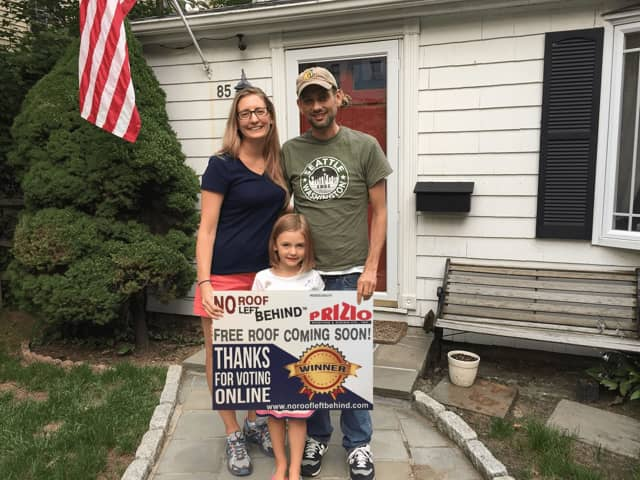The Ference Family of Stamford won a free roof for their home.