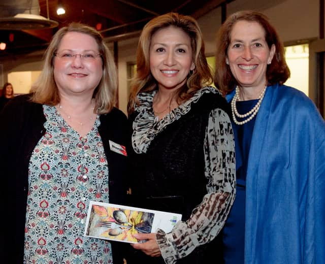 President and CEO of Stepping Stones Museum for Children Rhonda Kiest, Norwalk's First Lady Lucia Rilling, and  Board Chair of Stepping Stones Museum for Children Sandra Miklave enjoy the FriendsGiving festivities held on Nov. 9 in Norwalk.