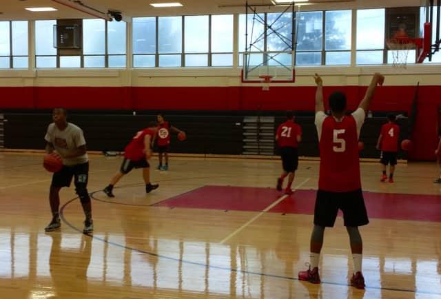 The Elmwood Park Crusaders hone their skills during basketball practice in December.