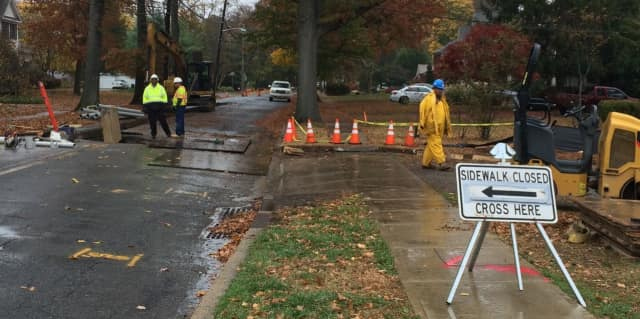 PSE&G workers at work on Harristown Road in Glen Rock on Tuesday, Nov. 10.