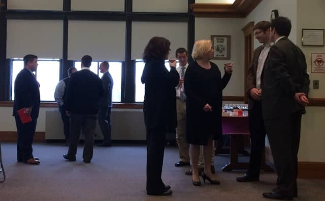 Bergen County school officials mingle before starting a discussion on the issues Wednesday, Dec. 2 in Ridgewood.