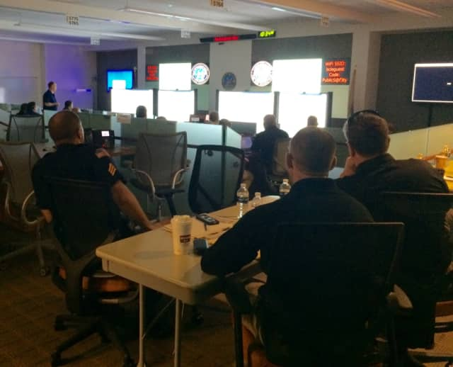 Bergen County law enforcement at new technology training at the Public Safety Operations Center in Mahwah.