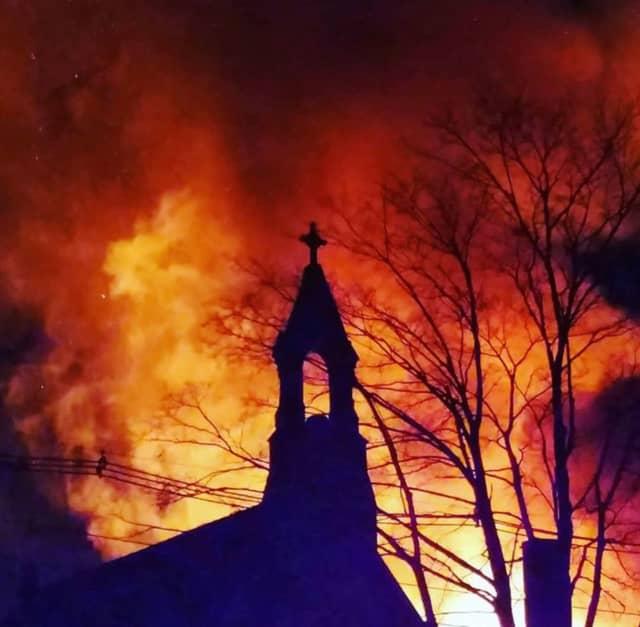 Residents shared photos of the blaze on social media.
