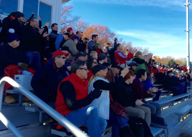 Glen Rock fans cheer on the Panthers football team against Hawthorne in the state playoffs Saturday, Nov. 21.
