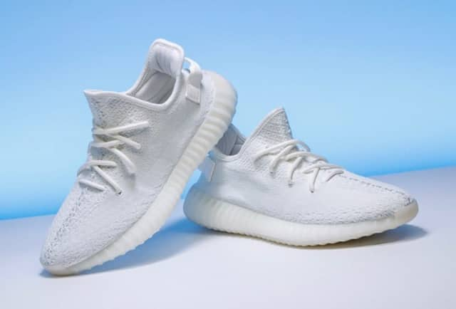 These are the new Yeezy's by Adidas, one of the latest trends in shoe fashion. They sold out of shoe stores in a matter of hours. If you want a pair, you have to look online. These were $220 from Adidas.com.